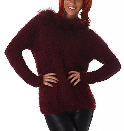Jela London Damen Kuschel Pullover Longpulli Strickkleid Weich warm Winter Fransen Pullover Grobstrick zart Schalkragen, Wein Rot
