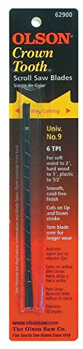 Olson Saw CT62900 0.053 by 0.018-Inch 6 TPI Crown Tooth Crown Tooth Scroll Saw Blade