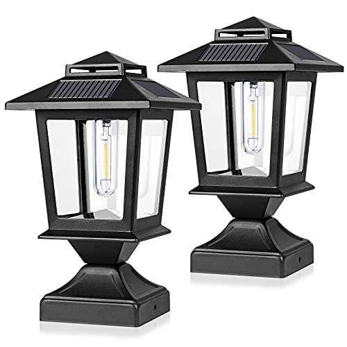 Derynome Fence Post Solar Light,Waterproof Solar Power Outdoor Light for 4x4 Wooden Posts,Metal Post Lights with Glass Shade Fit for Deck Fence Patio Decor,Black (2 Pack)