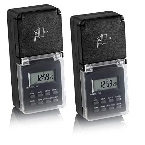 SEBSON® 2X Zeitschaltuhr Außen, digital programmierbar, Wochen Timer, 24h Timer, Zufalls-Funktion, minutengenau, Tages-Zeitschaltuhr, max. 3600W