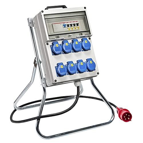 VotHA® Köln - Distribuidor de pie de plástico con interruptor FI entrada CEE 32 A, 400 V, enchufe 230 V ~ 3, CEE 16 A, 400 V ~ 2, CEE 32 A, 400 V~ 1, LS 16 A, 1 polo, C 1, LS 16 A, 3 pines, C 1