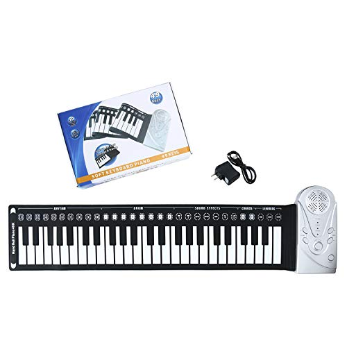 Homend Roll Up Piano for Kids Beginners, Travel Foldable 49 Keys Flexible Electronic Hand Roll Piano Built-in Speaker Environmental Silicone Piano Keyboard