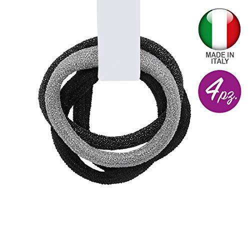 3161-111 - Set 4 pièces Cheveux pour cheveux Paillettes Made in Italy cm 0,5 avec 4 cm de diamètre environ - Couleurs mixtes - Mix Noir