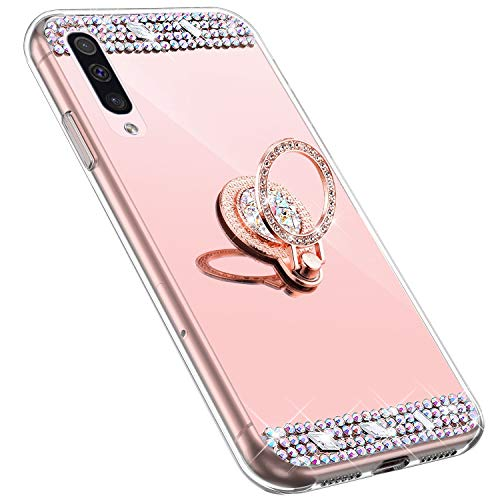 MoreChioce kompatibel mit Samsung Galaxy A50 Hülle,Galaxy A50 Glitzer Hülle mit Ring,Bling Glitzer Rosa Gold Spiegel Silikon Diamant Schutzhülle Strass Crystal Defender Bumper mit Ständer