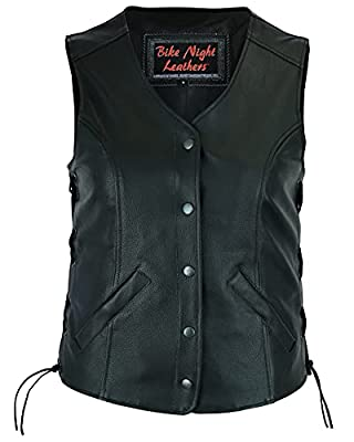 Daniel Smart Women's Premium Long Body Leather Motorcycle Biker Vest With Side Laces | Premium Grade Milled Cowhide Leather 1.1 - 1.2mm | Adjustable | Concealed Gun Pockets - (M) - DS206 from