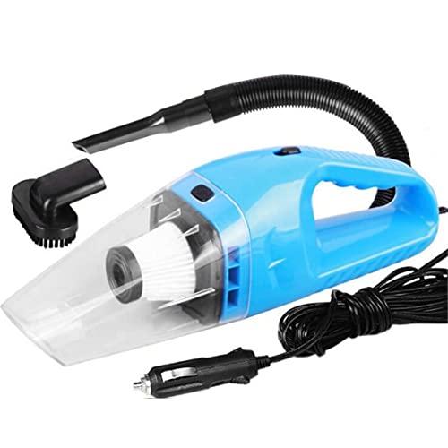 Petrichori Aspirapolvere Portatile per Auto Wet And Dry Forte aspirazione Ad Alta Potenza per la Pulizia degli Interni Aspirapolvere Portatile Leggero DC 12V - Blu 32X9Cm