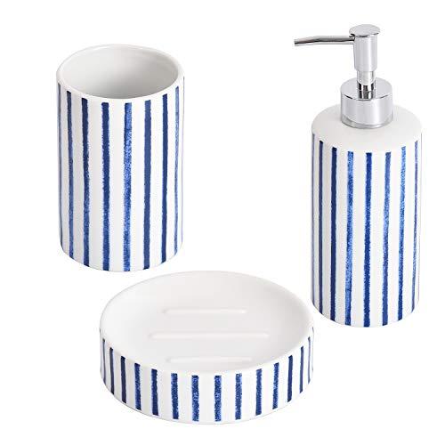 Shireen Home Juego de Accesorios de baño de cerámica Juan con Rayas. Dispensador de jabón, Vaso, jabonera