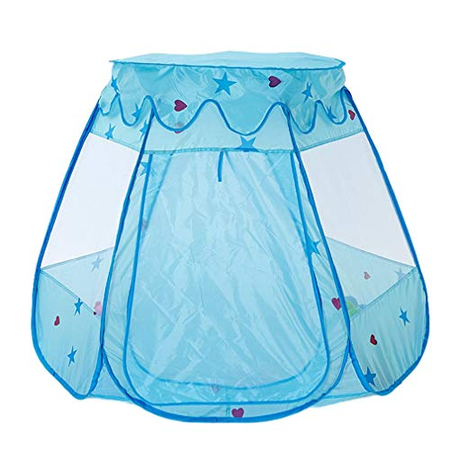 Tienda para niños Piscina de Bolas hexagonales con Cubierta Bebé Plegable Casa de Juegos Interior y Exterior Castillo de la Princesa (Azul)