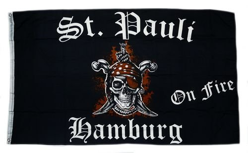 Flagge Fahne St. Pauli on Fire 90 x 150 cm