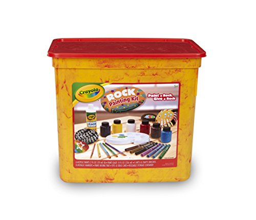 Crayola Rock Painting Art Kit for Kids Includes to Create Intricate Rock Art Projects: Paints, Metallic Markers, Brushes, Paint Mixing Tray & Finishing Glaze in a Resealable Tub