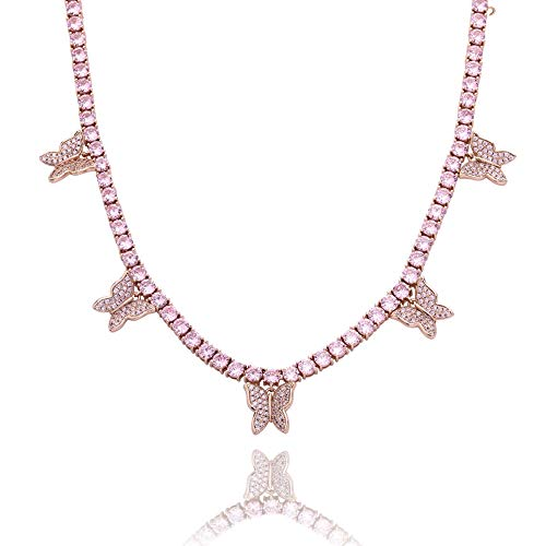 Personalisierte Dangle Name Choker Custom Silber 925 & vergoldet Initial Alphabet Anhänger Halskette mit hängenden Namen/Schmetterling/Zirkon