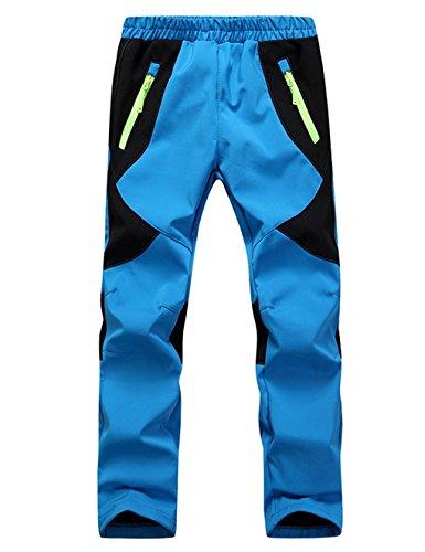 Echinodon Kinder Gefütterte Hose Softshellhose Winddicht Wasserabweisend Atmungsaktiv Warm Regenhose Skihose Jungen Mädchen Trekkinghose Wanderhose (134-140, B-Hellblau)