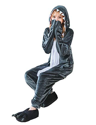 サメ きぐるみ 大人用 パジャマ ルームウェア 動物 コスプレ 仮装 コスチューム ハロウィン クリスマス 男女兼用 (M)