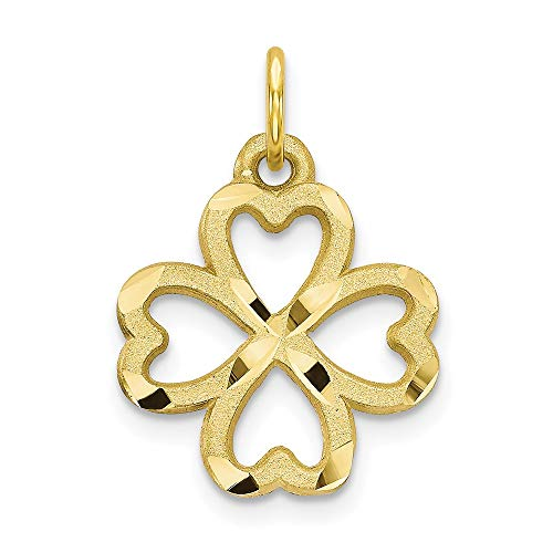 10k Yellow Gold 4 Leaf Clover Pendant Charm Necklace Good Luck Italian Horn Fine Jewelry For Women Gifts For Her