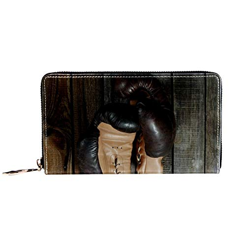 XCNGG Damen Reißverschluss um Brieftasche und Telefonkupplung, Reise Geldbörse Leder Clutch Tasche Kartenhalter Organizer Wristlets Brieftaschen, braune alte Boxhandschuhe mit Einer Spitze über Alten