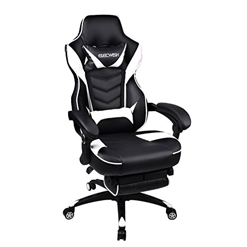 Video Gaming Chair Racing Office - PU Leather High Back Ergonomic Adjustable Swivel Executive Computer Desk Task Large Size with Footrest,Headrest and Lumbar Support (Black+White)