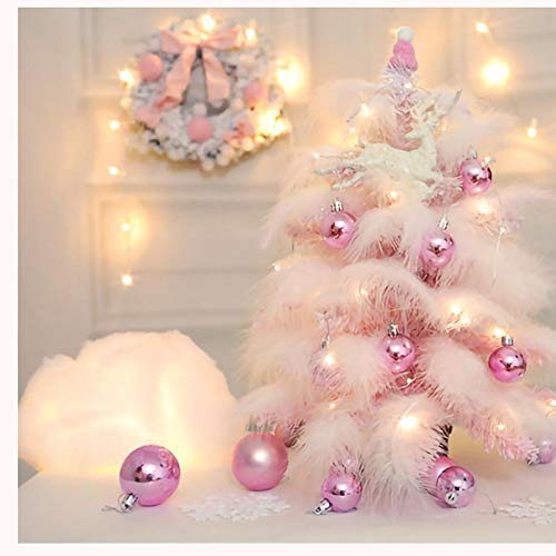 Callm 45cm Pink Mini Christmas Tree with Balls, Stand LED Lights Merry Christmas for Christmas Decorations, Home, Kitchen, Dining Table Xmas Indoor for Girls (A)