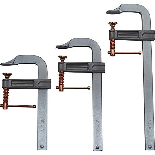 Klutch F-Clamp Welding Clamp Set - 3-Pcs, Brass-Coated Screws