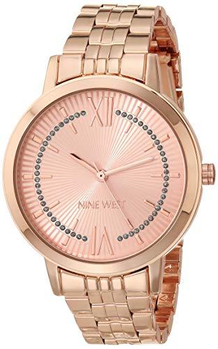 Nine West Women's Glitter-Accented Rose Gold-Tone Bracelet Watch, NW/2538RGRG