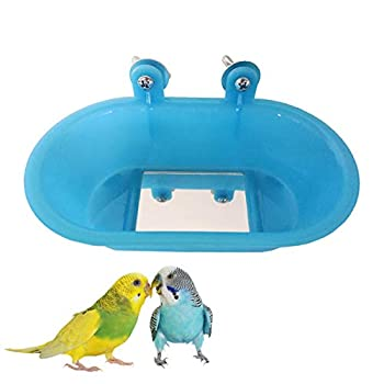 Wontee Bird Bath with Mirror Toy Fixable Parrot Bathroom Tub for Small Brids Parrot Canary Budgies Parakeets