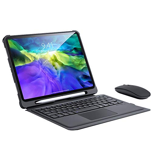 Touchpad Keyboard Case for Ipad Pro 11 2020, Detachable Wireless Bluetooth Keyboard Cover Adjustable Stand with Pencil Holder Support 2Nd Gen Apple Pencil Charging,Black with mouse