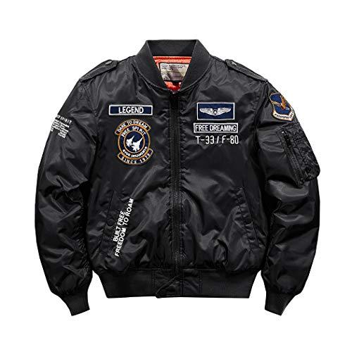 SemiAugust(セミオーガスト)ジャケット メンズ MA-1 フライトジャケット 中綿 ジャンパー 刺繍 ワッペン ミリタリージャケット 防寒 エムエーワン ブラック 5XL