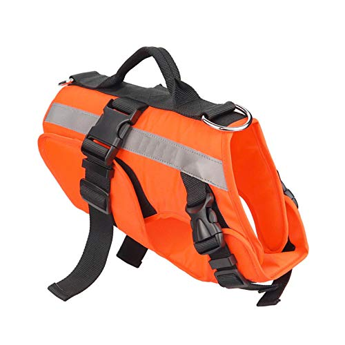 Dog Life Jacket, Adjustable Reflective Pet Floatation Vest with Superior Buoyancy and Rescue Handle (Size:L)