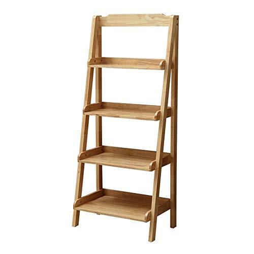JCNFA planken Boekenplank leunend tegen de muur meerlagige plank ladder massief hout Plant Stand Woonkamer Slaapkamer Balkon, 2 Maten 23.62 * 14.17 * 55.11in Wood Color