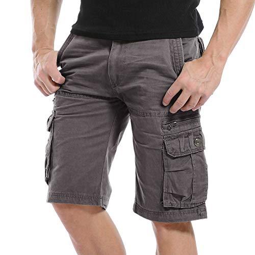 Onsoyours Pantaloni Corti Bermuda Cargo Pantaloncini Uomo Lavoro Pantaloni Tasconi con Elastico Estive Casual Pantaloncino Sportivi Jogging Spiaggia Shorts A Grigio Scuro Medium