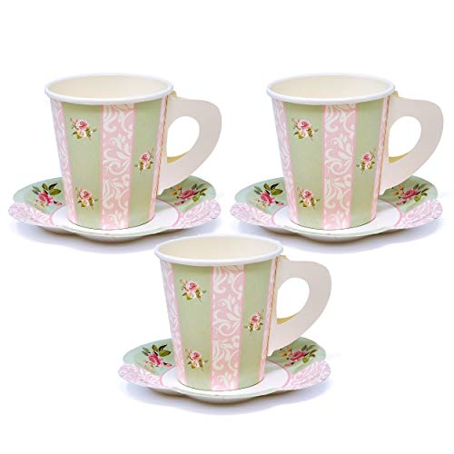 24 Disposable Tea Party Cups 5 oz 3' 24 Saucers 5' Paper Floral Shaped Plate Teacup Set with Handles for Kids Girls Mom Coffee Mugs Wedding Birthday Bridal Baby Shower Mint Green Pink Table Supplies