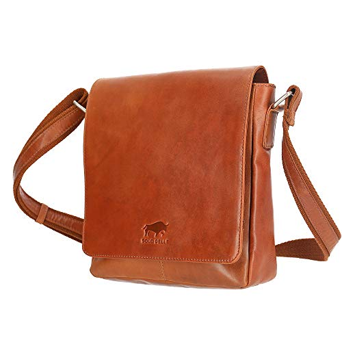 Solo Pelle Messenger Tasche I Schultertasche I Umhängetasche aus echtem Leder Model: Ervin (Cognac Braun)