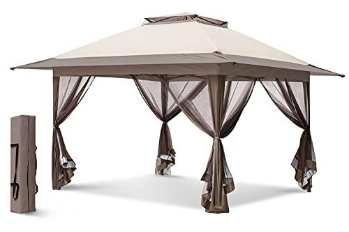 EAGLE PEAK 13' x 13' Pop-Up Gazebo Tent Instant w/ Mosquito Netting,Outdoor Gazebo Canopy Easy Set-up Folding Shelter (Beige/Brown)