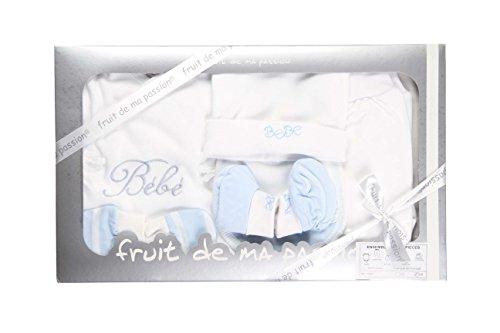Coffret naissance 8 pièces - bébé - 100% coton (Bleu)