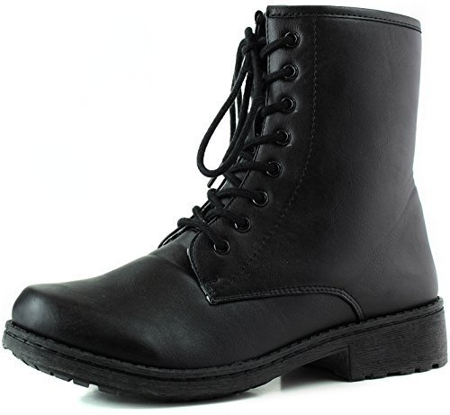 Qupid Women's Missile04 Black Leatherette Military Lace Up Bootie 6.0 M US,6 B(M) US