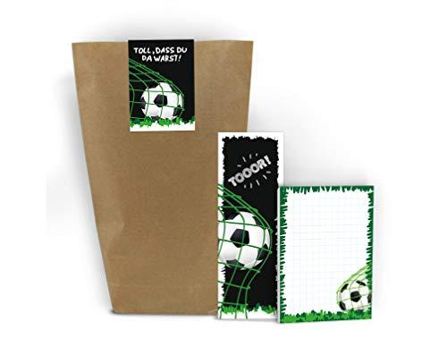12 Blöcke + 12 Lesezeichen + 12 Geschenktüten + 12 Aufkleber Fussball Fußball Mitgebsel Gastgeschenk beim Geburtstag Kindergeburtstag Jungen