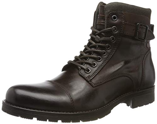 JACK & JONES Herren JFWALBANY Leather Biker Boots, Braun (Coffee Bean Coffee Bean), 43 EU