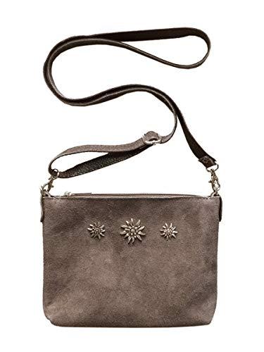 Trachtentasche Dirndltasche kleine Umhängetasche Clutch Wild-Leder Taupe grau-braun