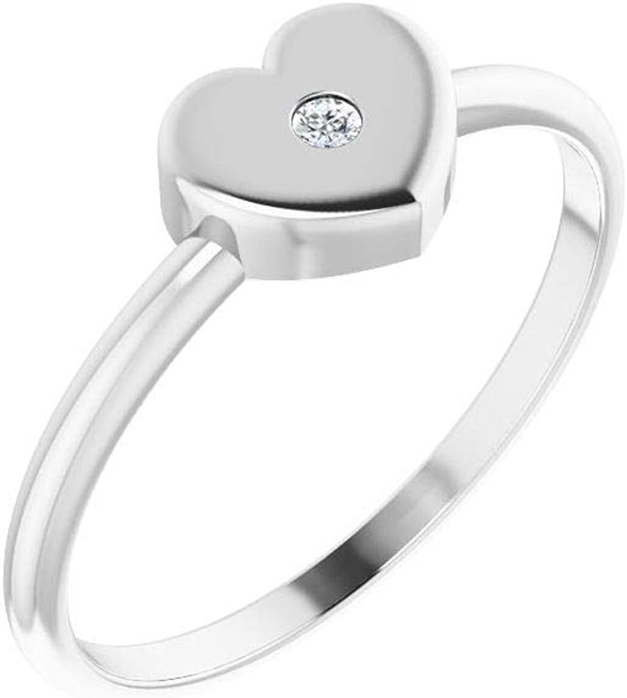 Solid Platinum Solitaire .01 CT Diamond Solitaire Heart Girls Youth Child Ring Band - Size 3 (Width = 5.1mm)