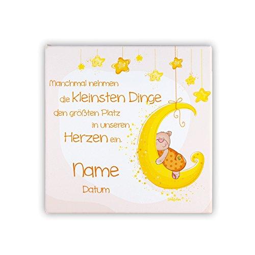 Striefchen® Leinwand auf Keilrahmen zur Geburt von einem Mädchen als Babygeschenk mit Namen und Datum