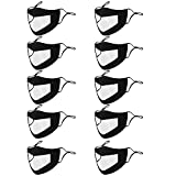 RUNHOOD 10pcs Black Reusable,Washable Face Mask with Clear Window- Anti-Dust Mouth Guard Adjustable Unisex Mouth Face Shield in Outdoor Facial Protection Visible Expression for The Deaf and Hard of Hearing