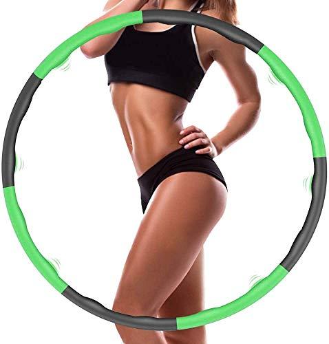 YUNVJIG Aro de hula hoop para adultos, fitness, pérdida de peso, 8 secciones, montaje libre, para fitness, tonificación abdominal, deporte, reducción de peso (0,9 kg), color verde