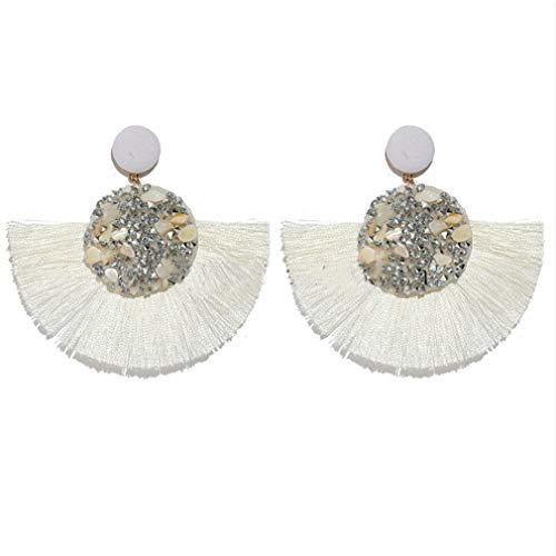 Hengxing Boho-Fan-Form-Ohrring-Fransen-Troddel-Bolzen-Ohrhänger-Ohrring, weiß