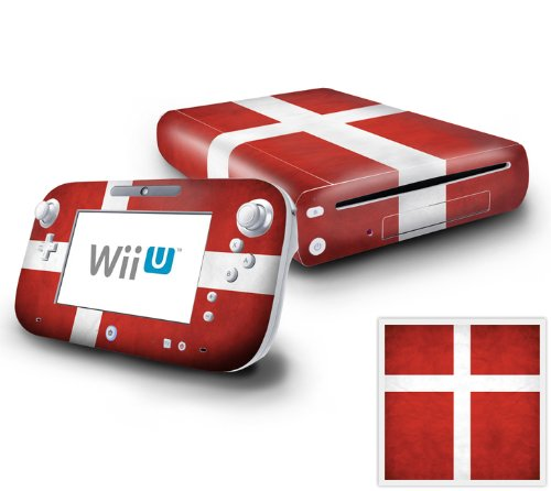 Nintendo Wii U Console and GamePad Decal skin Sticker - Flag of Denmark
