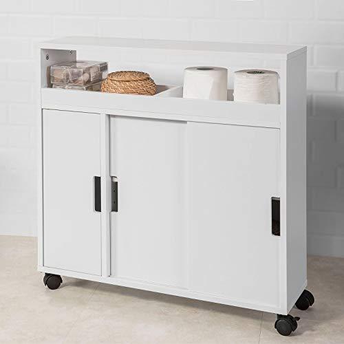 Haotian BZR02-W, White Version Bathroom Toilet Paper Roll Holder, Bathroom Storage Cabinet Cupboard on Wheels