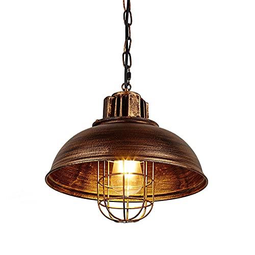Lampada a sospensione industriale retrò ampia illuminazione a soffitto lampadario E27 vintage soffitto illuminazione per ristorante bar bar loft cucina camera da letto soggiorno (bronzo)