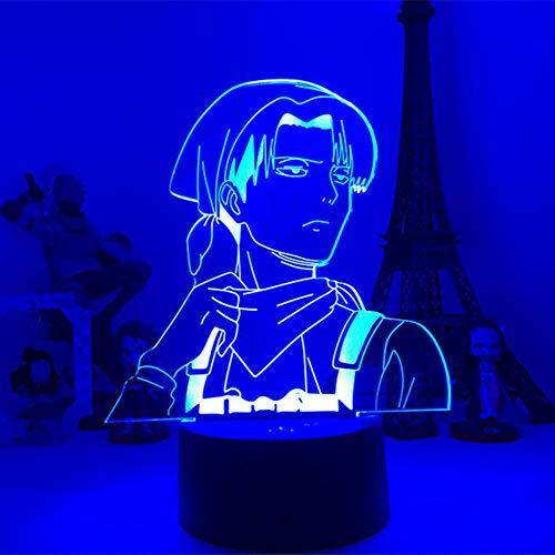 Regalos para niños Anime Attack Home Decoración de habitaciones Luz de Titanio Acrílico Lámpara de mesa Cool Niños Regalo Capitán Levi Akmant Decoración de Dormitorio Luz de ambiente Alta