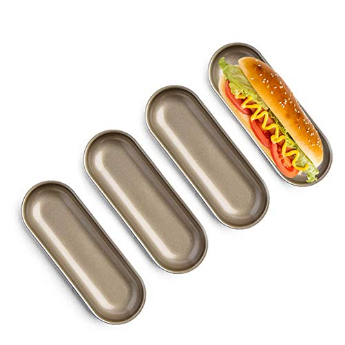 Set of 4 Hot Dog Mold Long Bread Loaf Mold Cake Pan for Oven Baking,7.6' X 2.9' X 0.98'