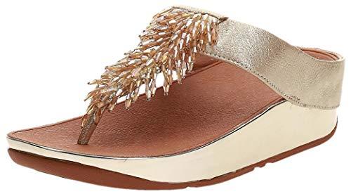 FitFlop Rumba Toe-Thong Sandals, Chanclas Mujer, Dorado (Metallic Gold 537), 38 EU