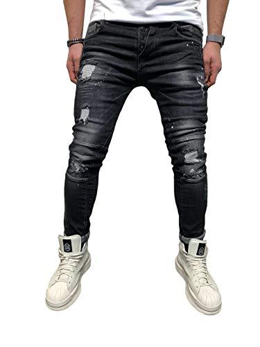BMEIG Jeans Skinny da Uomo Strappati Stretch Denim Pants Distressed Ripped Sfilacciato Slim Fit Pantaloni Patchwork Pocket Hiphop Jeans S-3XL Nero