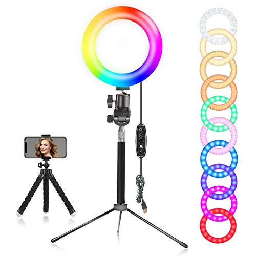 EEIEER Ring light, 6'' RGB Ring Light with adjustable Tripod Stand, Mini LED Dimmable Selfie Ring Light with Cell Phone Holder Desktop LED Lamp with USB for Makeup, Youtube, Video (RGB, 6 INCH)